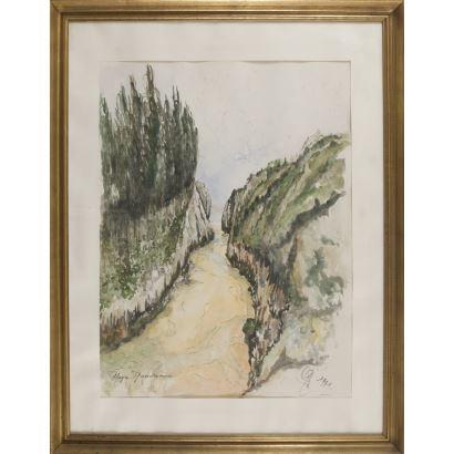 Acuarela y tinta. Firmado en ángulo inferior derecho y fechado en 197, Playa Guadamia (Asturias) 96x75cm/70x53cm
