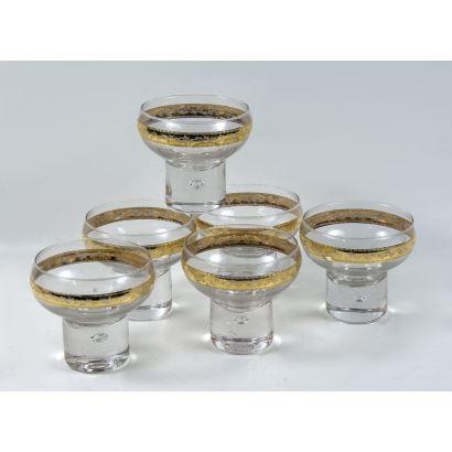Seis copas de cristal de murano con borde de oro de 24k.