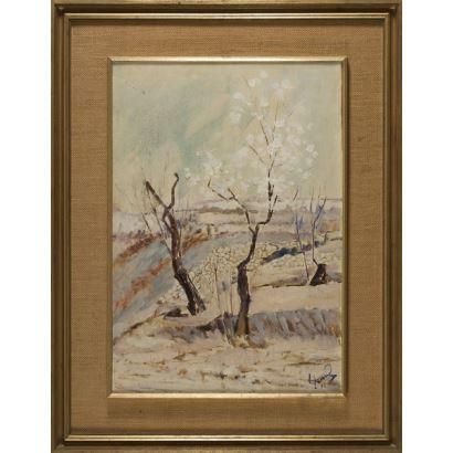 Óleo sobre lienzo de LLORENS óleo sobre lienzo que representa de manera impresionista un paisaje nevado; que aparece firmado por el autor en el ángulo inferior derecho. Está enmarcado. 37 x 55 cm (1971).