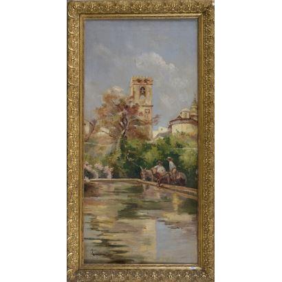 MUÑOZ MARÍN, Enrique (Sevilla, 1935). Óleo sobre lienzo.