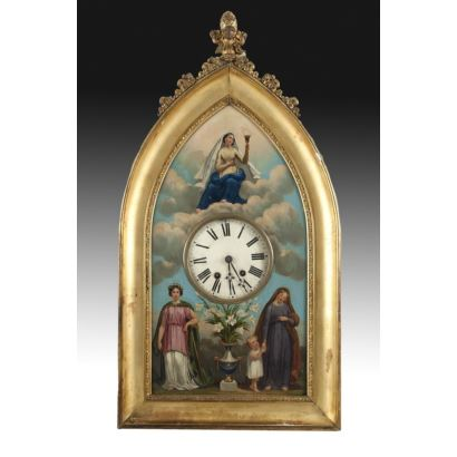 Watches. Wall clock, neo-Gothic style, S. XIX.