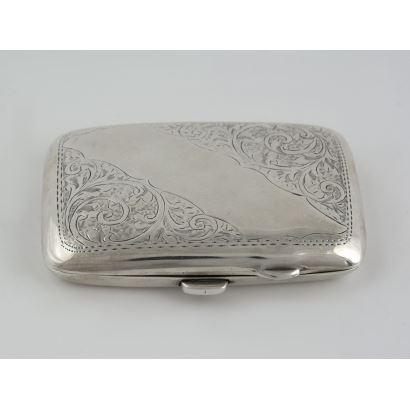 Silver. Silver cigarette case, Birmingham 1917.