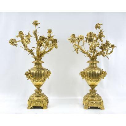 Pareja de candelabros, estilo Napoleón III, S. XIX.