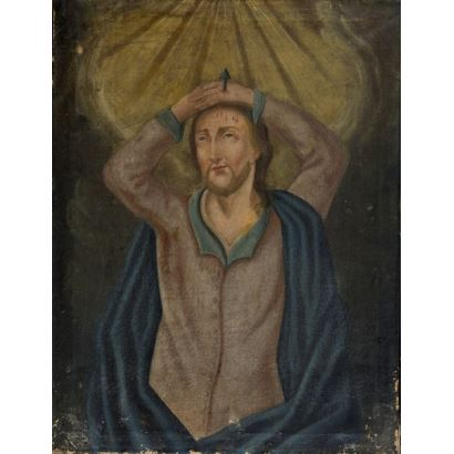 Óleo sobre lienzo. Pintura religiosa, en ella observamos la figura de Cristo con las manos sobre la cabeza donde se encuentra un clavo de la cruz. (Probablemente los ropajes sean posteriores) Anónimo. 61'5x80cm