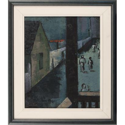 Pintura del siglo XX. óleo sobre lienzo. Vista urbana, sigueindo los parámetros estilísticos de las primeras Vanguardias S.XX. Óleo aplicado con espátula. Firmado: Josefina. 61x53cm/ 43x36cm
