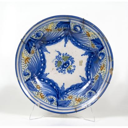 Cerámica. Plato en cerámica de Manises, S. XIX.