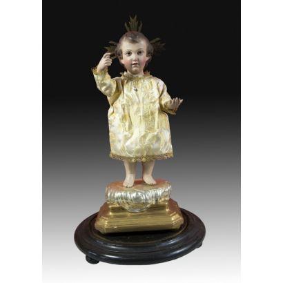 Sculpture. Child in lantern, ppios. S. XIX.