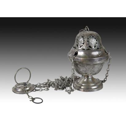 Plata. Incensario en plata, siglo XVIII.