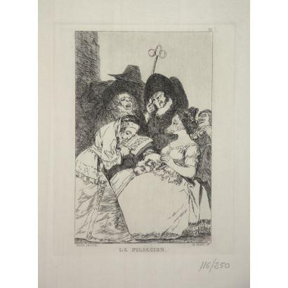 Obra Gráfica. Conjunto de 5 grabados de la serie Los Caprichos de Goya.