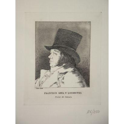 Conjunto de 5 grabados de la serie Los Caprichos de Goya.