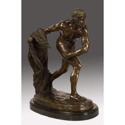 """Bronze sculpture """"Throwing a net""""."""