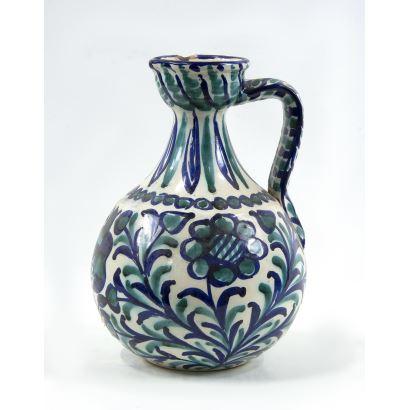 Alcuza en cerámica de Fajalauza, S. XX.