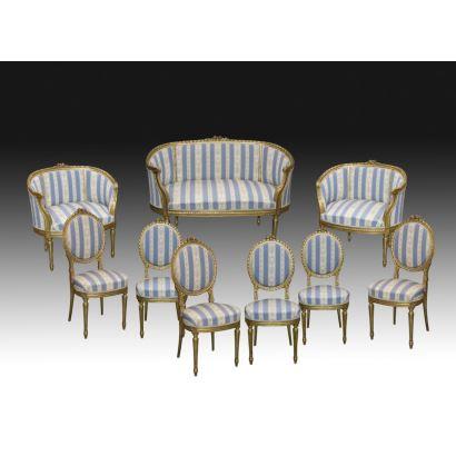 Conjunto de salón, estilo Luis XVI, fin S. XIX- ppios. S. XX.