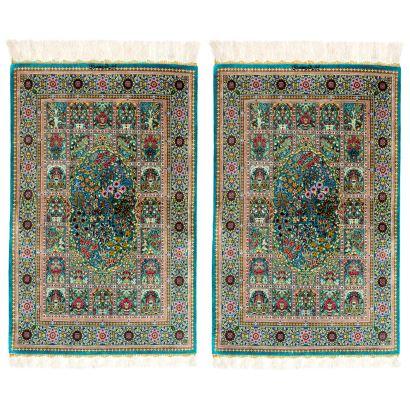 Pareja de alfombras persas Qom.