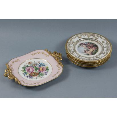 Porcelana. Lote de platos decorativos, S. XX.