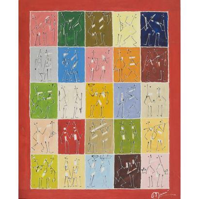 Ante nosotros una alegre composición al óleo sobre lienzo en la que numerosos personjes esquematizados están enmarcados en rectángulos de vivos colores. Firma ilegible en ángulo inferior derecho. 65x80,5cm.
