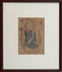 """""""Muchacha"""", Rafael Alberti. Se trata de una acuarela sobre papel, que aparece firmada por el propio autor en el ángulo inferior derecho. Está enmarcada. Medidas sin marco: 28x21cm."""