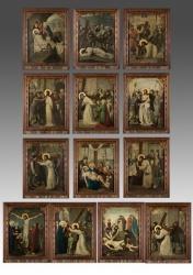 Magnífico  Vía Crucis Francés de impecable factura, con claro gusto Flamenco en cuanto a pliegues de ropajes y colores e influencia del primer Renacimiento italiano.O/Tabla Sin marco 44x32, con marco 54x42