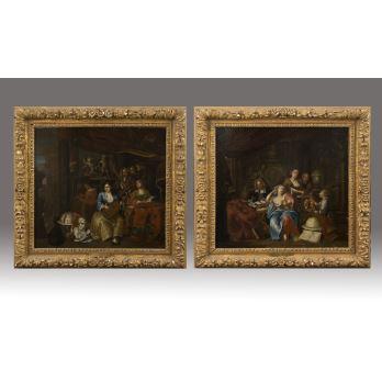 Pareja de óleos sobre lienzo. Escuela Flamenca S.XVII.