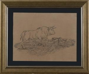Dibujo sobre cartulina. Atribuido a Mariano Benlliure y Gil.