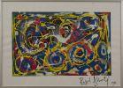 """""""Composición"""", Rafael Alberti. Se trata de una técnica mixta sobre papel, que aparece firmada y fechada por el propio autor en el ángulo inferior derecho. Está enmarcada. Medidas sin marco: 50 x 70 cm."""