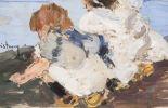 Pintura del siglo XX. Vives Maristany (Girona, 1901 - 1932). Dos niños. Óleo sobre tabla. Firmado en ángulo inferior izquierdo. Titulado al dorso. Valencia. Medidas: 20 x 14 cm.