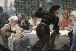 Pintura del siglo XIX. Jules Arsène GARNIER (1847-1889) 80x64cm/51x34cm