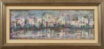 """""""Paisaje 4"""", Dolores Balsalobre. Se trata de un óleo sobre tabla, que aparece firmado por el propio autor en el ángulo inferior izquierdo. Está enmarcado. Medidas sin marco: 23,5 x 65,5 cm. Medidas con marco: 37,5 x 79,5 cm."""