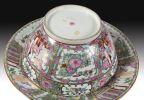 Porcelana. Cuenco y plato en porcelana de Macao, S. XIX